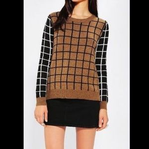 Lucca Couture Brown and Black Grid Print Sweater